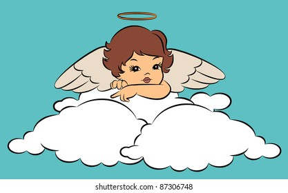 Beautiful baby angel with wings. Vector