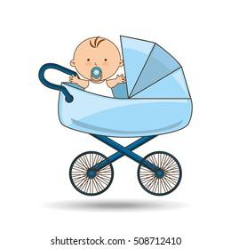 beautiful baby on pram blue design vector illustration eps 10