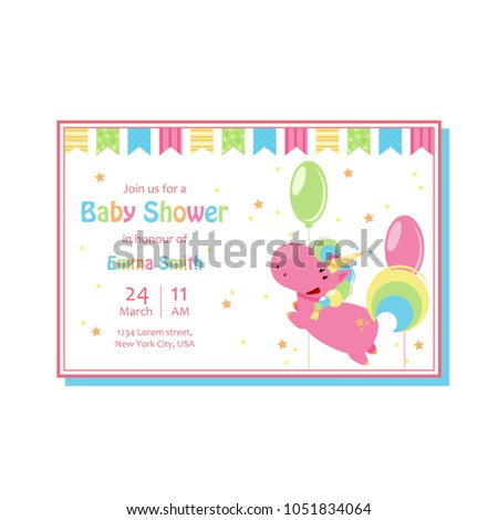 Beautiful Baby Shower Card Template Cute Stock Vector Royalty Free
