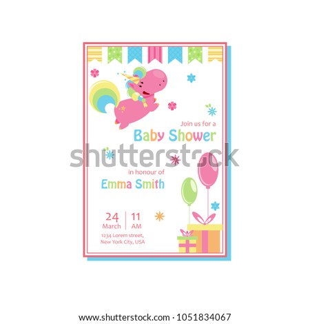 Beautiful Baby Shower Card Template Lovely Stock Vector Royalty