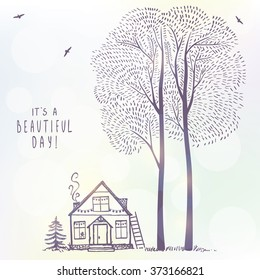 Beautiful background of amazing tall trees and house. Hand drawn sketch. Stylish vector illustration