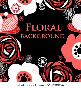 Beautiful background with blooming graphic flowers on a dark