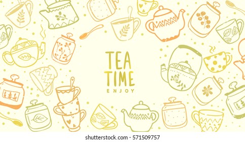 Beautiful background with doodle of kettles and mugs. Stylish vector illustration