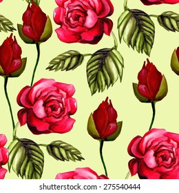 Beautiful background with elegant roses. Seamless hand-drawn floral pattern.
