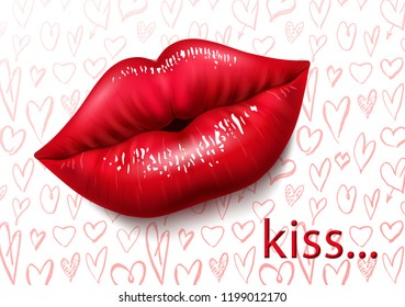 Beautiful background with female red lips, sexy lips, kiss, passion. Abstract background with hand draw hearts. 3D effect. Vector