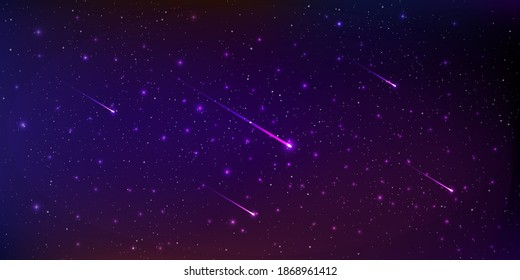 Beautiful background galaxy illustration with comets and stardust and bright shining stars illuminating the space.