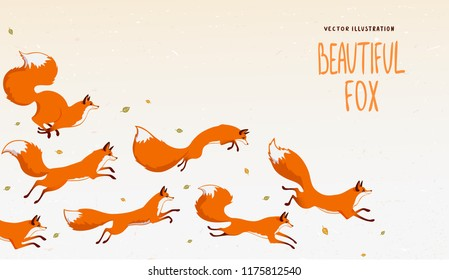 Beautiful background with gorgeous jumping foxs. Amazing wallpaper for your design. Vector illustration