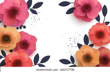 Beautiful background with paper flowers and place for text. Red flowers with a feast for the feast.