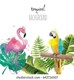 Beautiful background with parrot and flamingo. Exotic illustration.