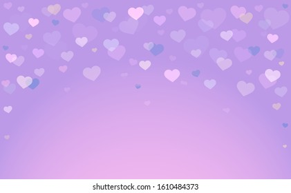 Beautiful background in purple shades with falling hearts from above. Valentine's Day. Romantic background. Scenery for the holiday of love. Vector illustration