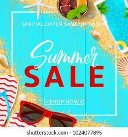 Beautiful background for summer sale. Top view on red sun glasses, seashells, cocktail, smartphone, flip flops and sea sand on wooden texture. Vector illustration with special discount offer.