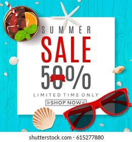 Beautiful background for summer sale. Top view on composition with sun glasses, seashells, fresh cocktail and ice cream on wooden texture. Vector illustration with web button.