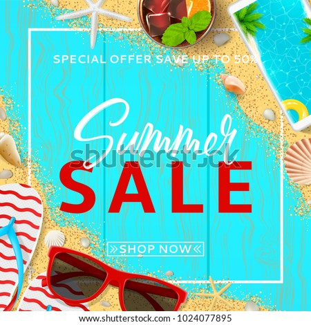 c7f33a66fc2c Beautiful Background Summer Sale Top View Stock Vector (Royalty Free ...
