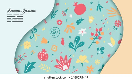 beautiful background template with layered pages and floral pattern