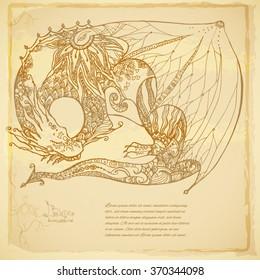 Beautiful background of tribal Dragon