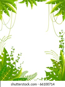 Beautiful background with tropical branches. Vector
