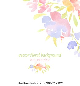 Beautiful background with watercolor flowers for cards, wedding invitation, vector illustration