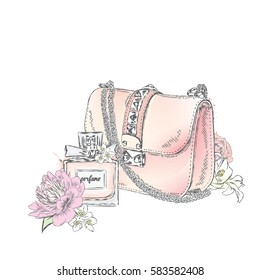 Beautiful bag with a bouquet of roses and peonies poured, and a bottle of perfume. Vector illustration. Fashion & Style.