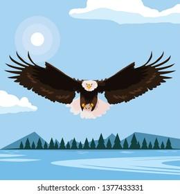 beautiful bald eagle flying in the lake scene
