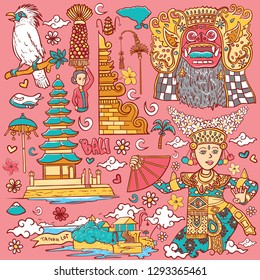beautiful bali indonesia isolated illustration
