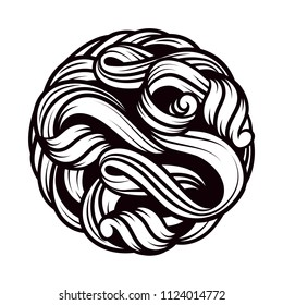 A beautiful ball. The intertwined tangle. Vector graphics. Beautiful tattoo. The black. Vector. The shape of the ball. One color.