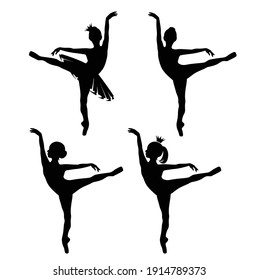 beautiful ballerina girl wearing tutu dress and royal crown - black and white vector silhouette of child practicing classical ballet