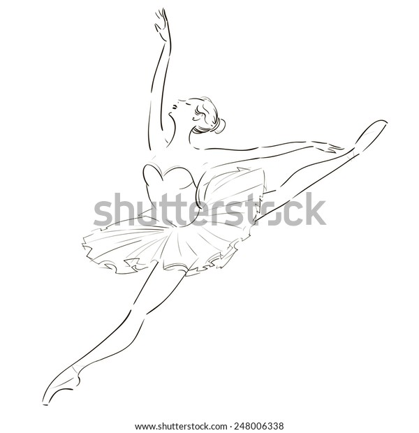 Beautiful Ballerina Pointe Shoes Tutu Line Stock Vector Royalty Free 248006338
