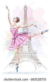 Beautiful ballerina posing and dancing on eiffel tower background. Hand drawn girl. Ballet dancer. Sketch. Vector illustration.