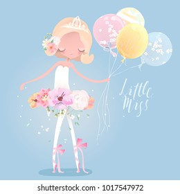 Beautiful ballet girl, ballerina in crown with flower dress, floral wreath, bouquet, tied bows and balloons. Little Miss lettering