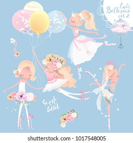 Beautiful ballet girl, ballerina in crown with flowers dress, floral wreath, bouquet, tied bows, romantic basket and balloons set, collection
