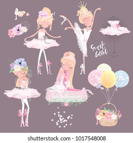 Beautiful ballet girl, ballerina in crown with flowers, floral wreath, bouquet, tied bows, romantic basket with balloons and bird set, collection
