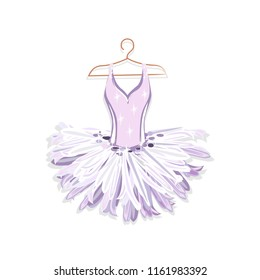 Beautiful ballet tutu on a hanger. Vector illustration on white background.