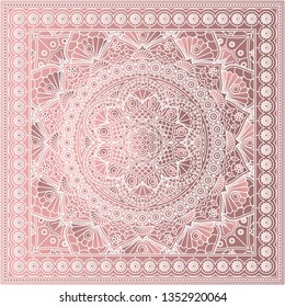 Beautiful bandana print in dusty rose colors. Kerchief design with mandala pattern.