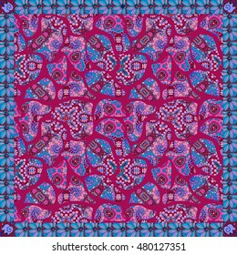 Beautiful bandana print with stylized semi-precious stones, ethnic pattern and floral border on red-wine background. Lovely tablecloth.