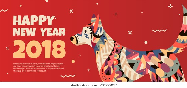 Beautiful banner with a dog in the style of the tribe and the text of the new year. Banner can be used for advertising, greetings, discounts. The dog symbol 2018.