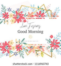 Beautiful banner with flowers and gold geometric elements. Frame templates. Vector illustration.