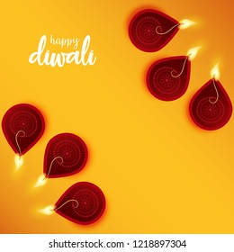 Beautiful banner, poster and wallpaper design on yellow background with lighting diyas. Happy diwali celebration.