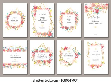 Beautiful banners with flowers and gold geometric elements. Frame templates. Vector illustration. Design for wedding, discount, ?dvertising, jewelry and etc.