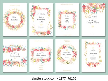 Beautiful banners with flowers and gold geometric elements. Frame templates. Vector illustration. Design for wedding, discount, advertising, jewelry and etc.