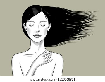Beautiful bare shouldered girl with closed eyes and black long fluttering hair. Vintage engraving stylized drawing. Vector illustration