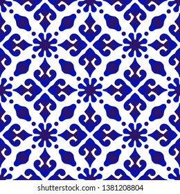 Beautiful batik patterns Malaysia and India style, porcelain indigo seamless modern background, blue and white wallpaper ceramic decor vector illustration