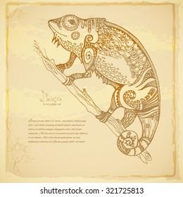Beautiful Batik vector background of patterned chameleon.