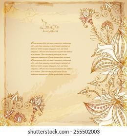 Beautiful Batik vector flower background