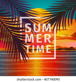Beautiful beach sunset landscape with palm leaves. Romantic sunset. Sunset over the sea. Flat design, vector illustration.