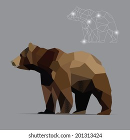 beautiful  bear abstract geometric polygon vector