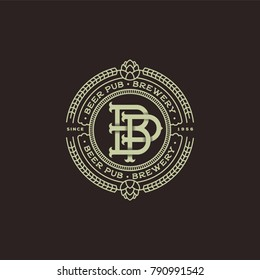 A beautiful beer emblem. Interlaced letters. B and P monogram. Craft beer logo. Antique sign like an engraving.