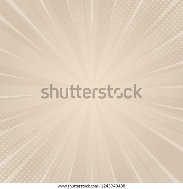 Beautiful beige sunburst background with halftone dots