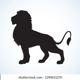 Beautiful big african proud powerful nobility big leo standing and fierce looking for prey. Dark ink hand drawn logotype emblem pictogram badge in art contour style on paper space for text. Side view