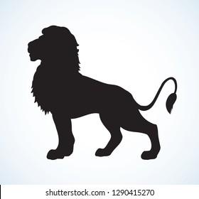 Schöner großer afrikanischer stolzer Adel großen Leo Stehen und eifrig auf der Suche nach Beute. Dunkelfarbene handgezeichnete Logo-Piktogramm-Abzeichen im Art-Kontur-Stil auf Papier für Text. Seitenansicht