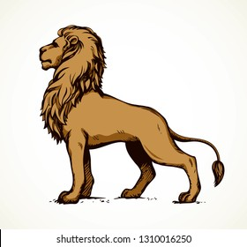 Beautiful big african proud powerful nobility big leo standing and fierce looking for prey. Bright brown color hand drawn logo emblem pictogram in art outline style on paper space for text. Side view